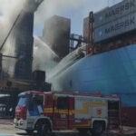 Se incendio una grúa en el Puerto de Buenos Aires