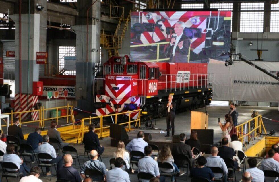 Ferroexpreso Pampeano presentó dos locomotoras recuperadas en Spurr
