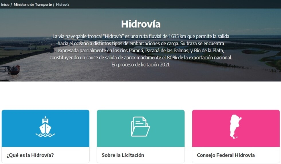 La web sobre la Hidrovía Paraná – Paraguay se encuentra actualizada, atendiendo el eje de transparencia y acceso a la información