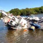 La Plata: Prefectura rescató a los tripulantes de un remolcador que se hundió